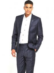 f05536a40412b2 TED BAKER Navy Hunter Check Wool Suit Jacket UK42L .